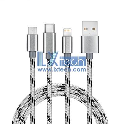 3 in 1 Nylon Braided Multiple USB 102CM