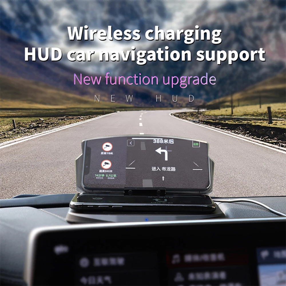 Car phone holder HUD head up display navigation display wireless charger